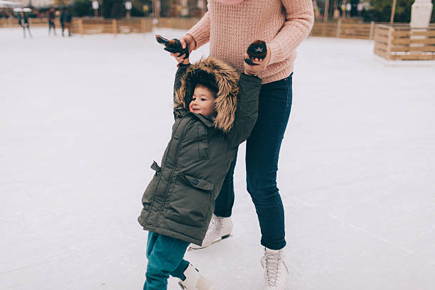 Learning to Ice-skate stock photo