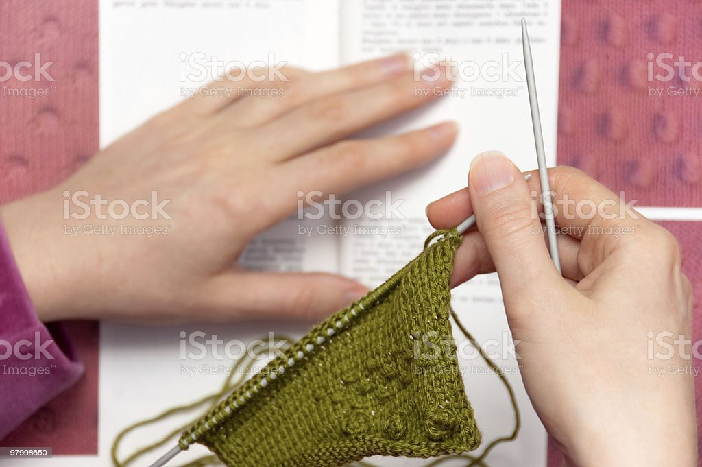 Learning to Knit royalty-free stock photo
