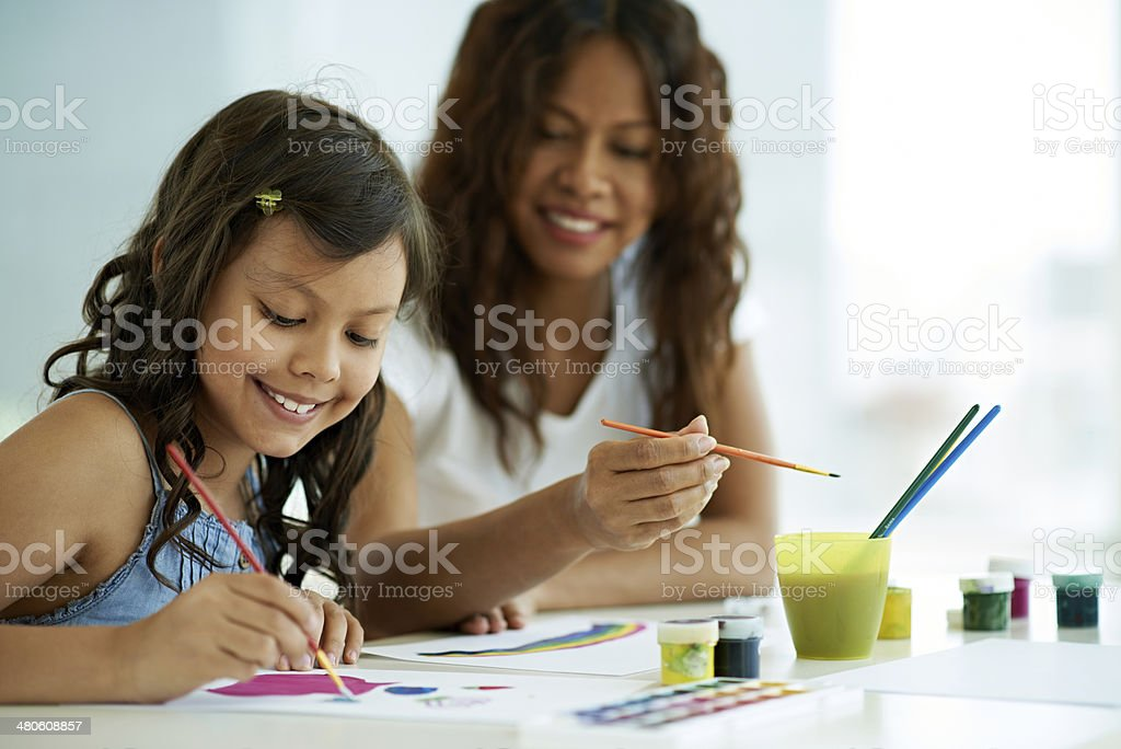 Learning to paint royalty-free stock photo