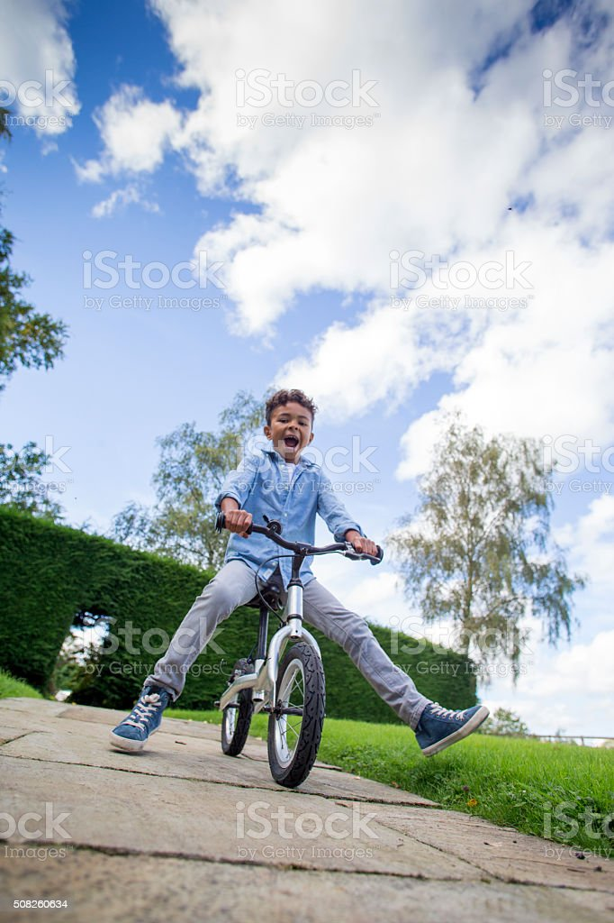 Learning to Ride a Bike stock photo