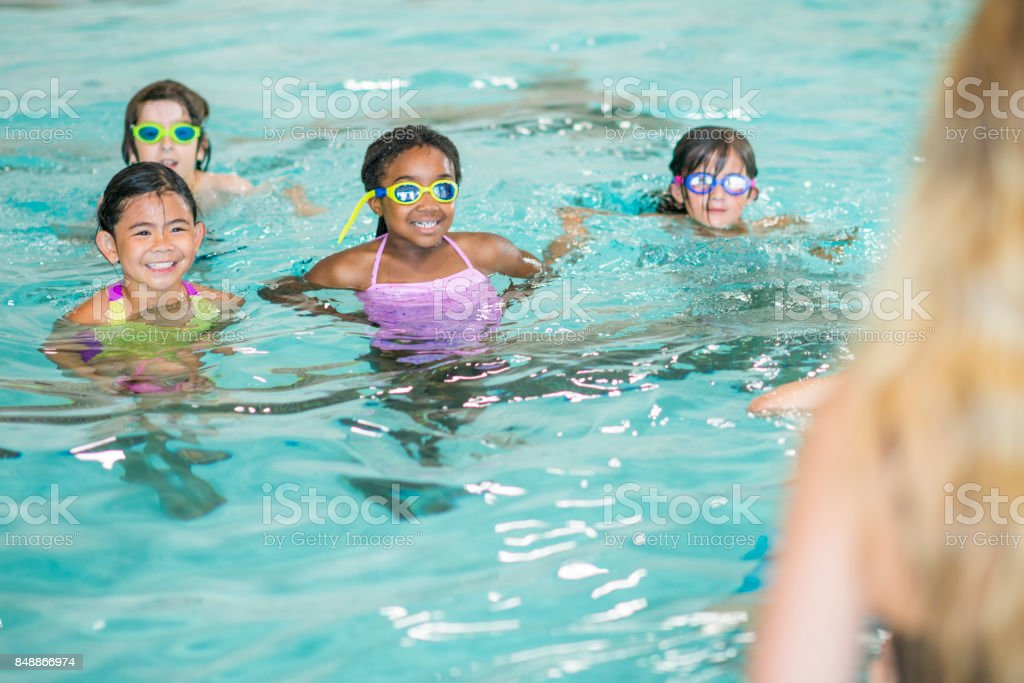 Learning To Swim stock photo