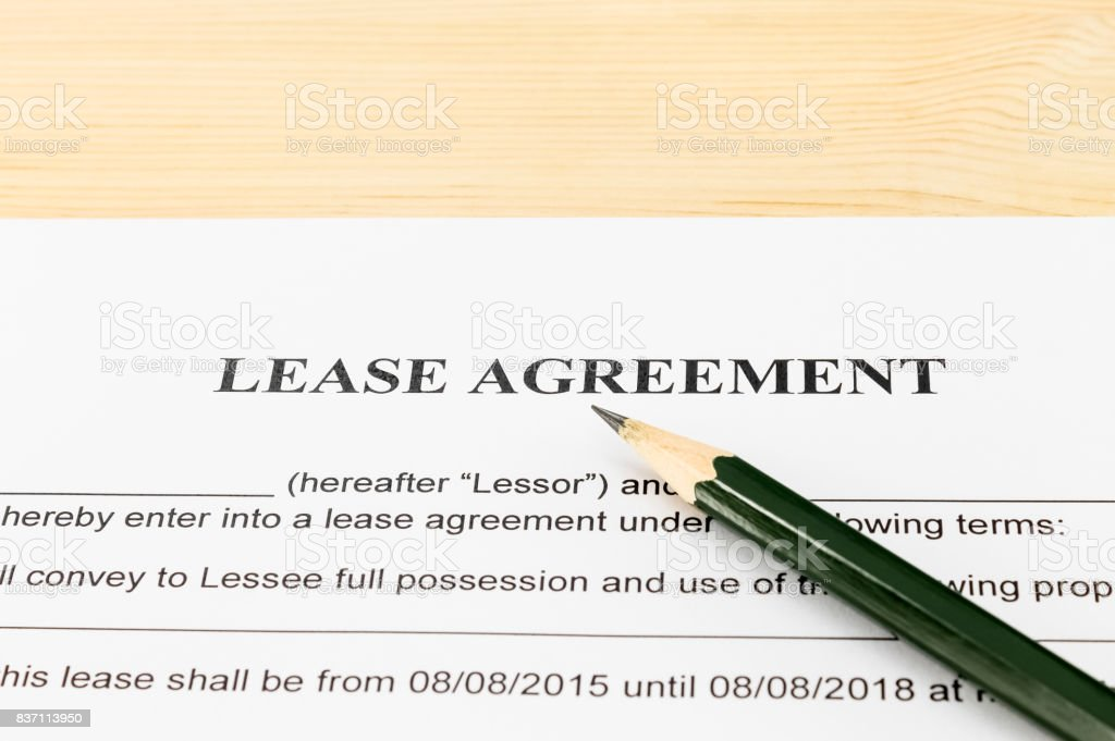 Lease Agreement Contract Document and Pencil Horizontal View stock photo