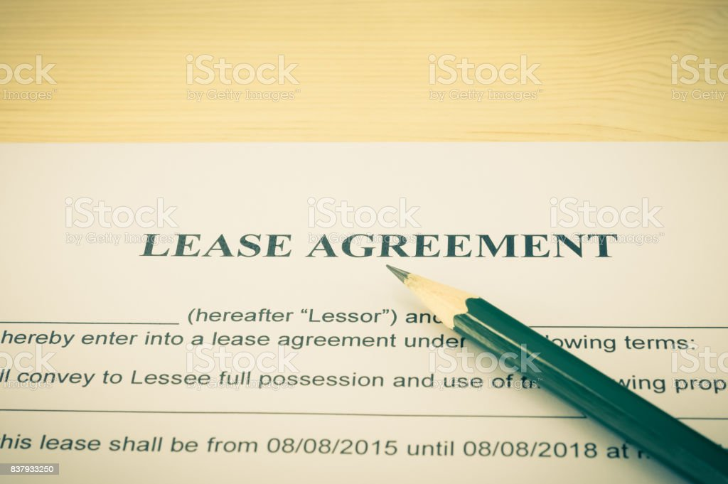 Lease Agreement Contract Document and Pencil Horizontal View Vintage Style stock photo