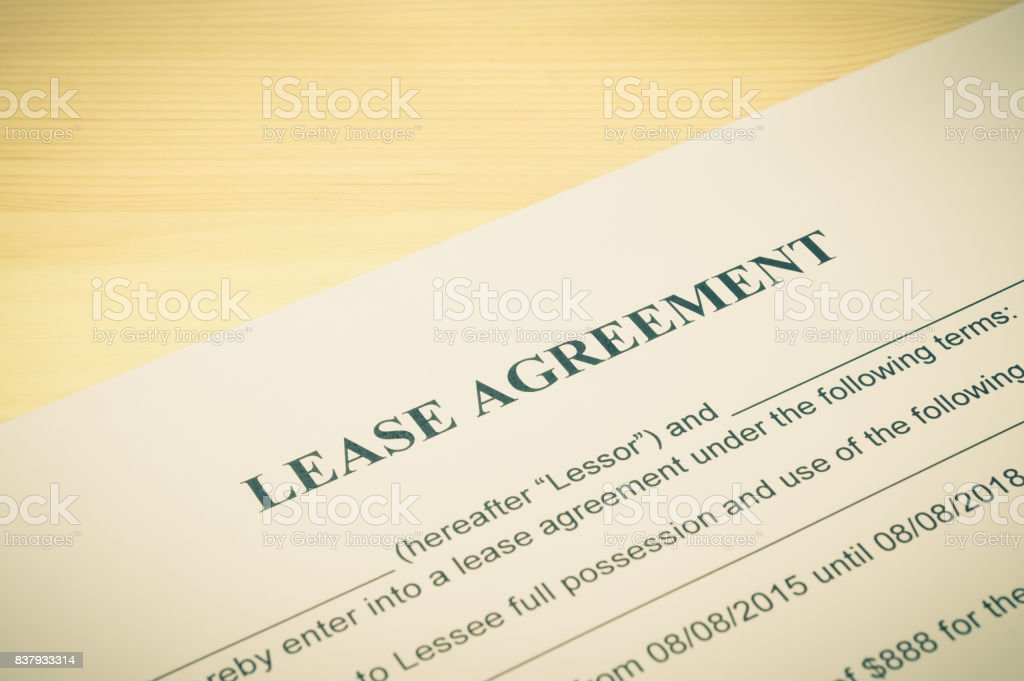 Lease Agreement Contract Document in Vintage Style stock photo