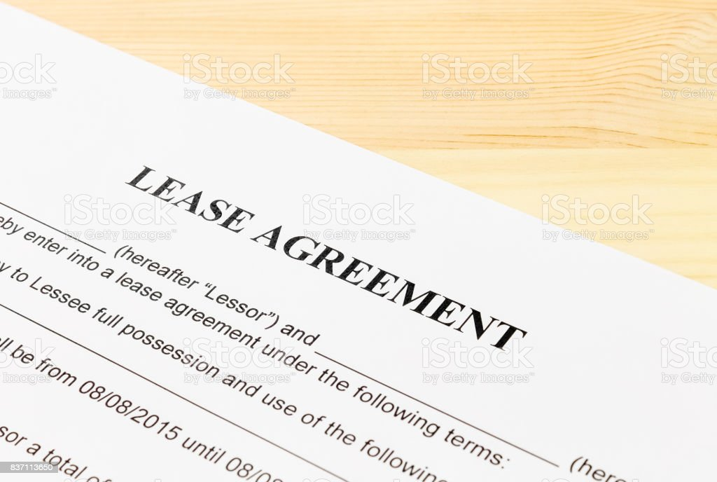 Lease Agreement Contract Document Left Angle View stock photo