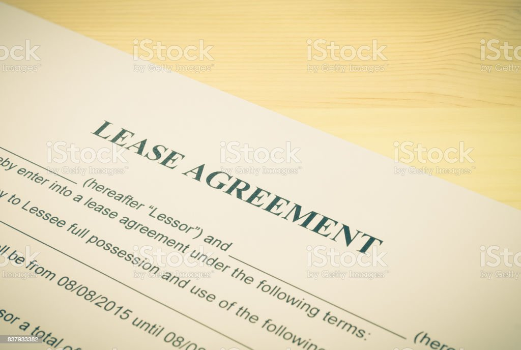 Lease Agreement Contract Document Left Angle View Vintage Style stock photo