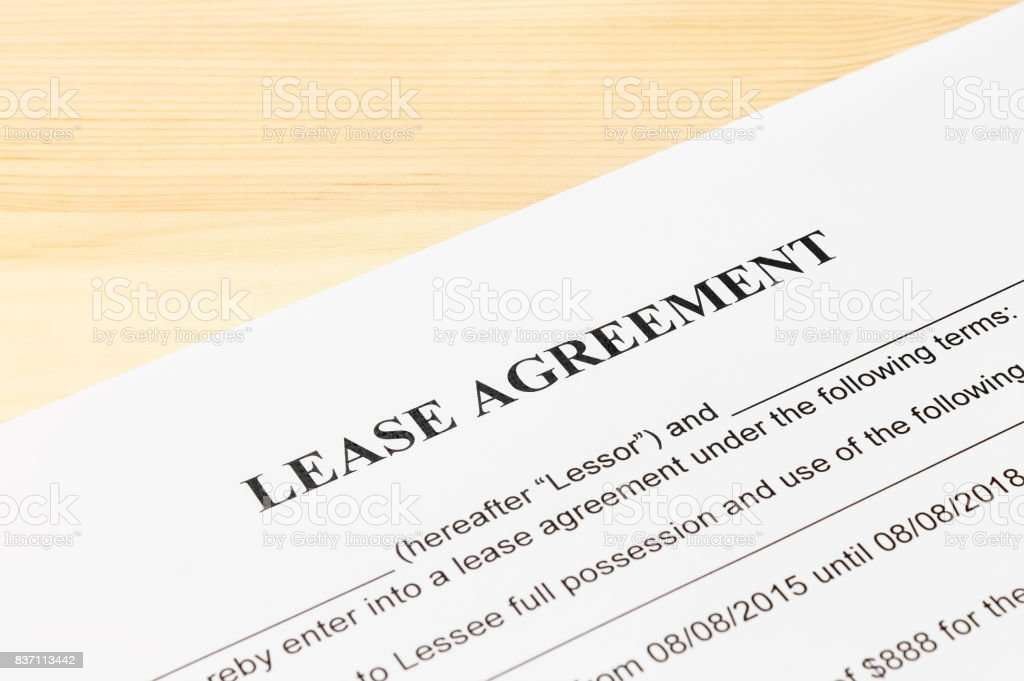 Lease Agreement Contract Document stock photo