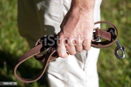 human hand with leash