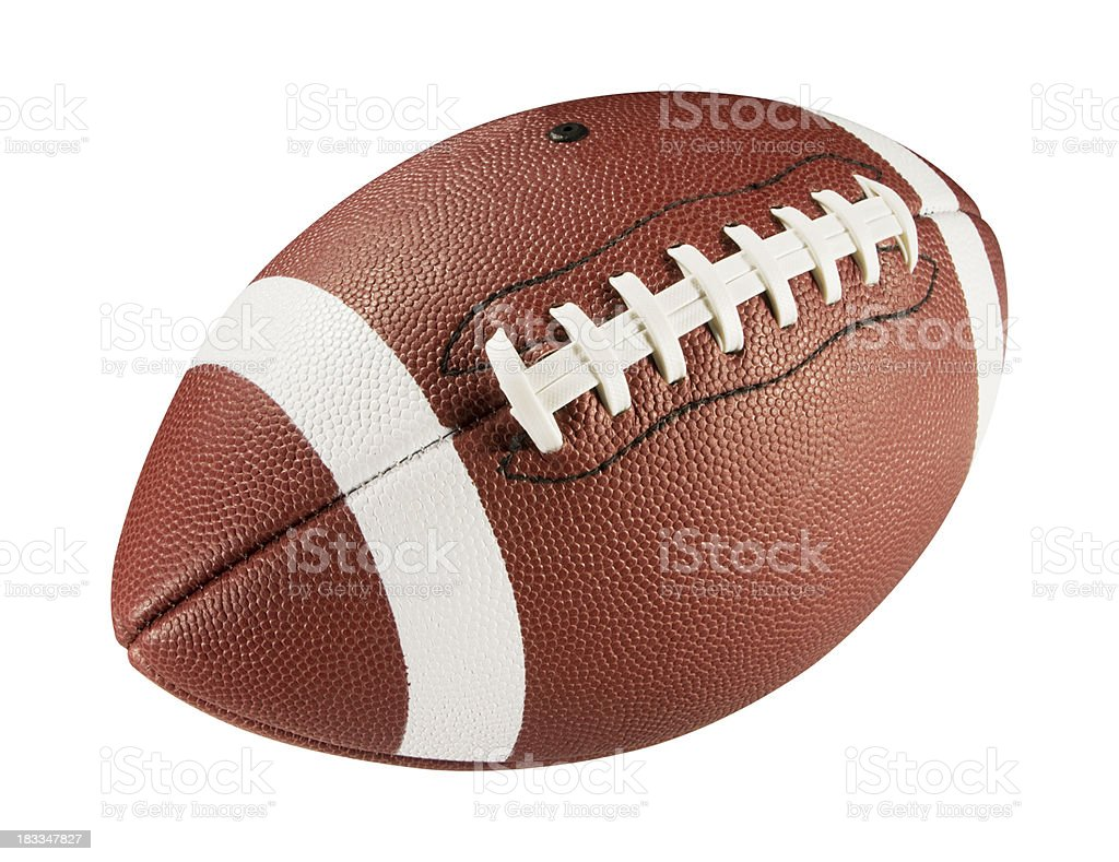 Leather American football on white background stock photo