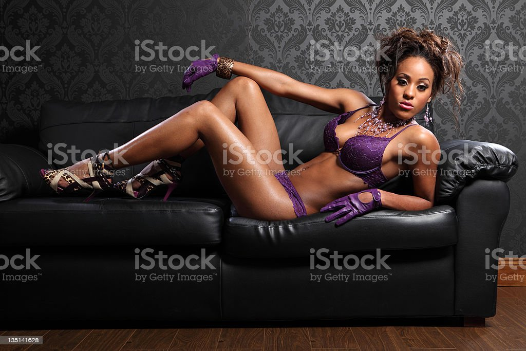 Leather and lingerie sexy african glamour model royalty-free stock photo