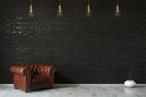 Leather Armchair against Black Wall