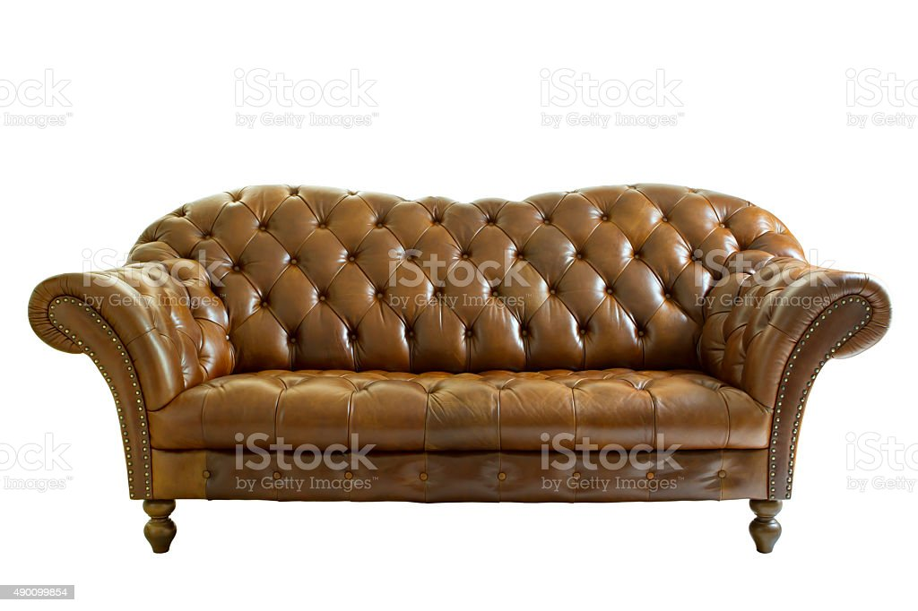 Leather armchair classical style isolated on white. Clipping pat stock photo