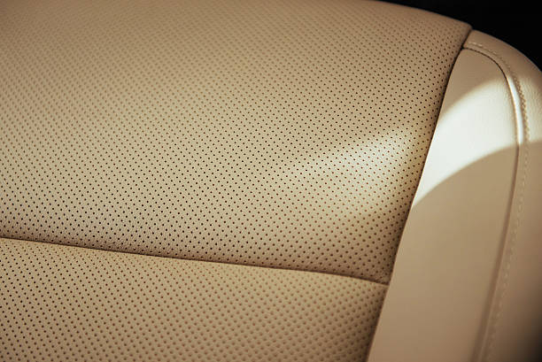 Leather background. Business car interior detail. – Foto