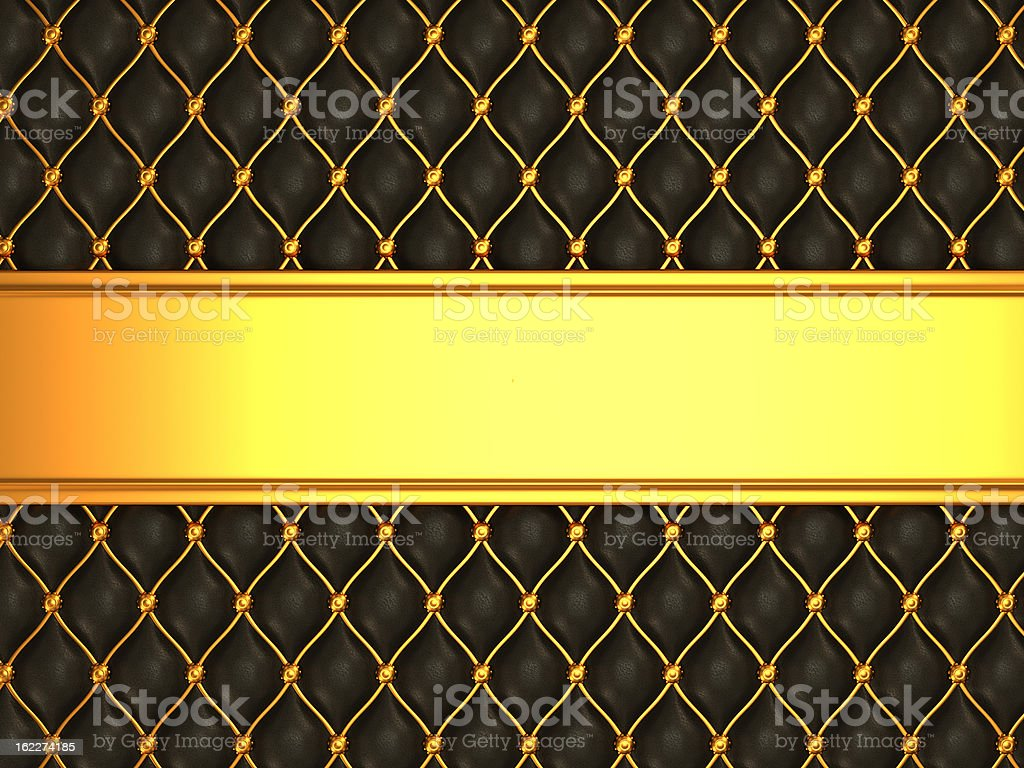 Leather background with golden blank line for caption royalty-free stock photo