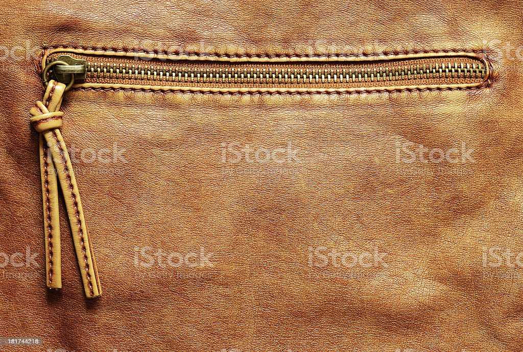 Leather background with zipper royalty-free stock photo