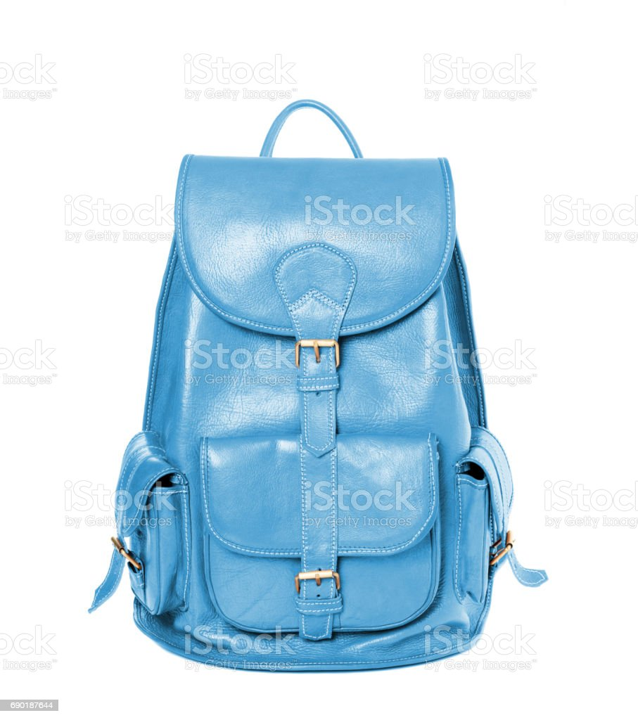 Leather backpack standing isolated on white sky blue color stock photo