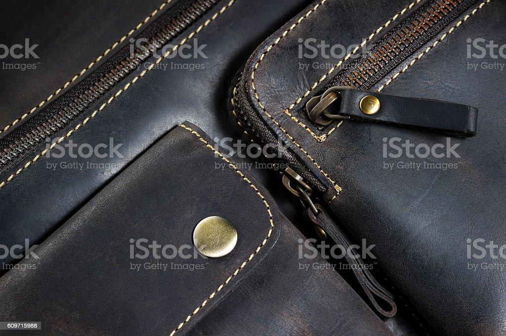 Bolsa de Couro detalhes - foto de acervo