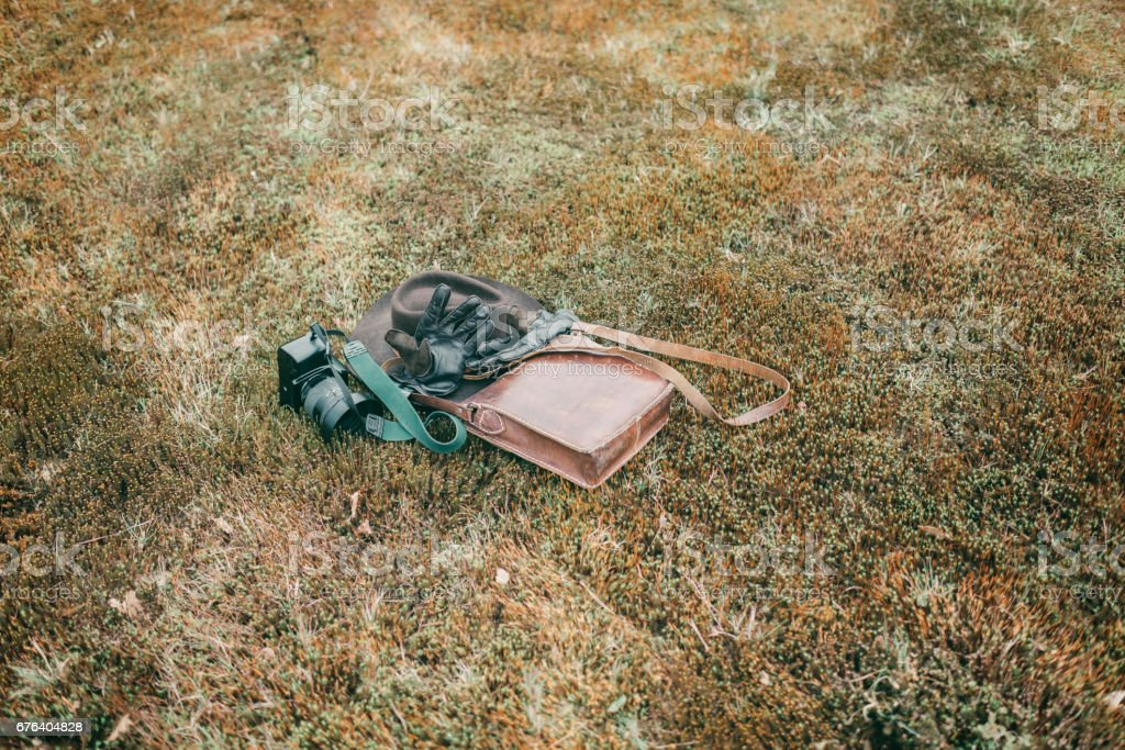 Leather bag with gloves and camera lying in meadow. High angle view. stock photo