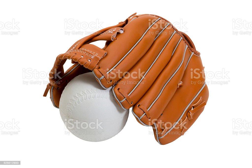 leather baseball glove and white ball stock photo