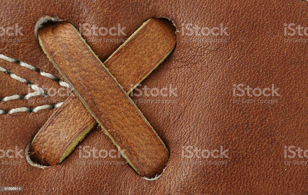 Leather baseball glove macro background stock photo