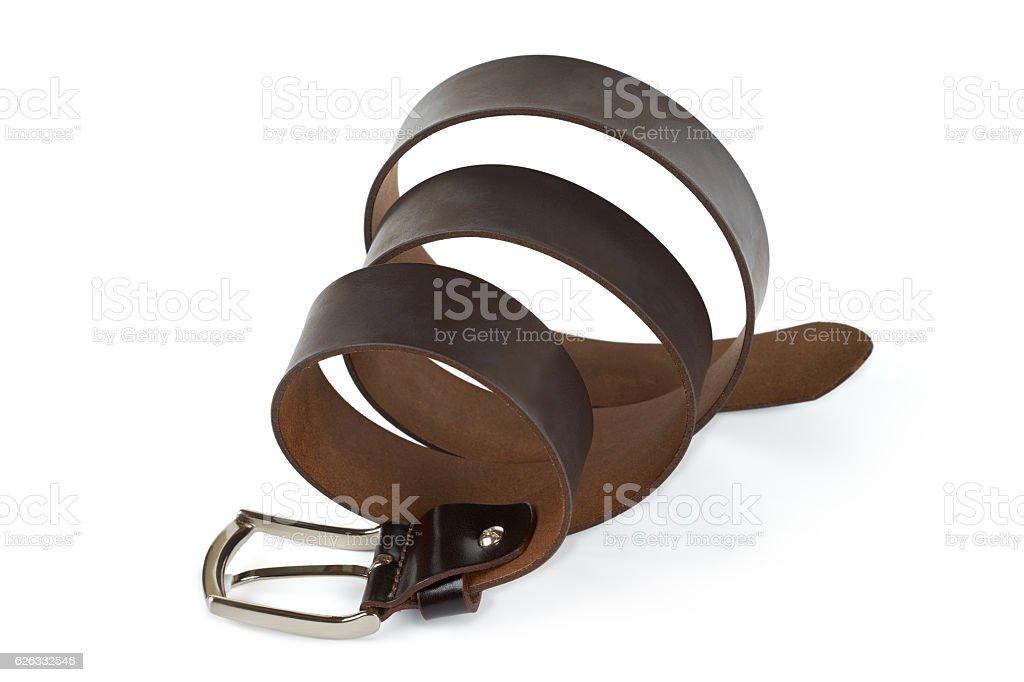 Leather belt for men on white background. stock photo