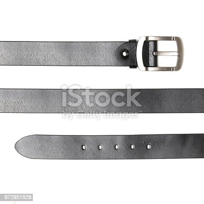 leather belt   isolated in white background