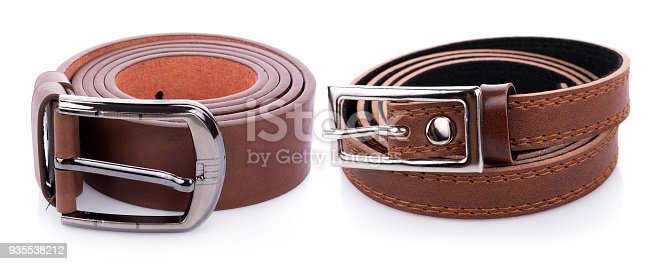 istock Leather belt isolated on white background 935538212