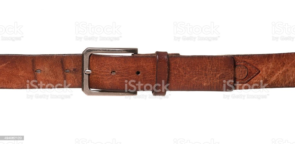 Leather Belt Isolated on White - Weight Gain Concept stock photo