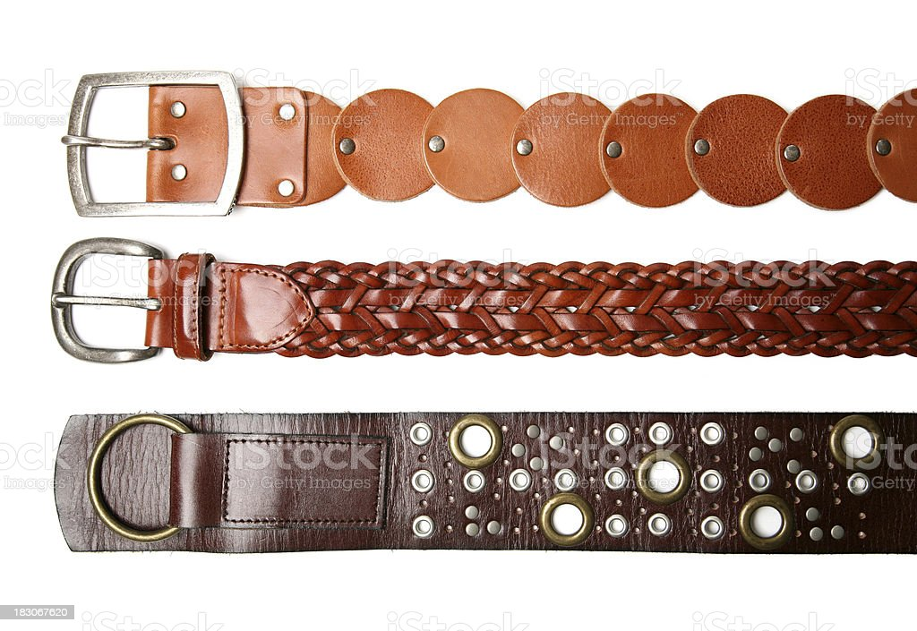 Leather belts stock photo