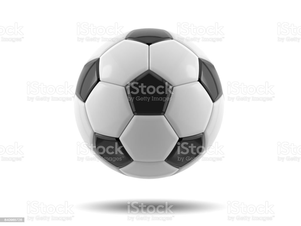 Leather black and white football ball. Soccer ball. 3D illustration. stock photo