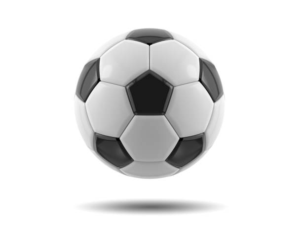 leather black and white football ball. soccer ball. 3d illustration. - soccer stock photos and pictures