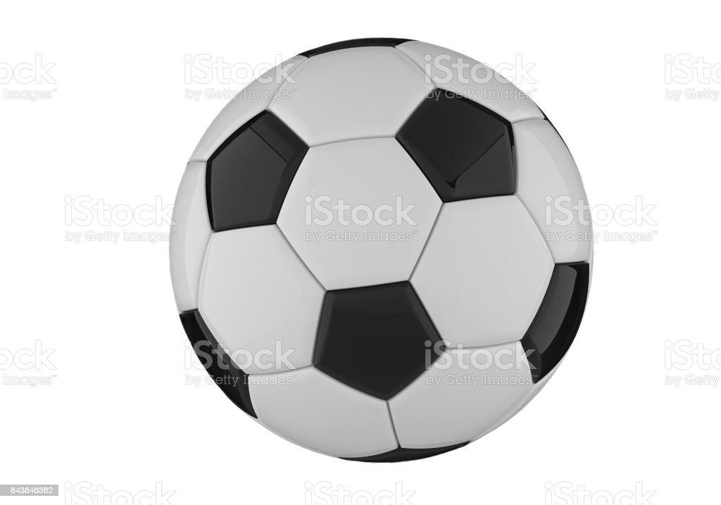 Leder Schwarz Weiss Fussballball Fussball 3drendering Stockfoto