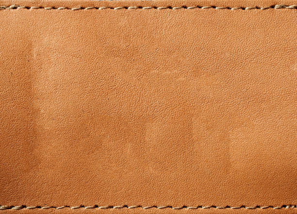 leather blank jeans label - seam stock photos and pictures