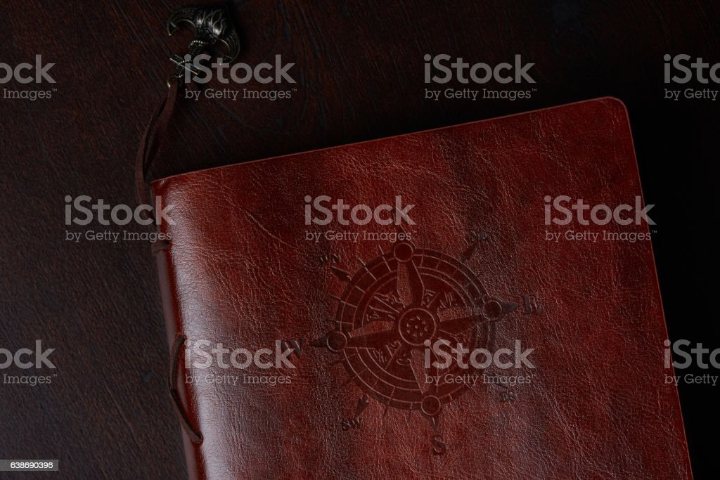 Leather book cover stock photo