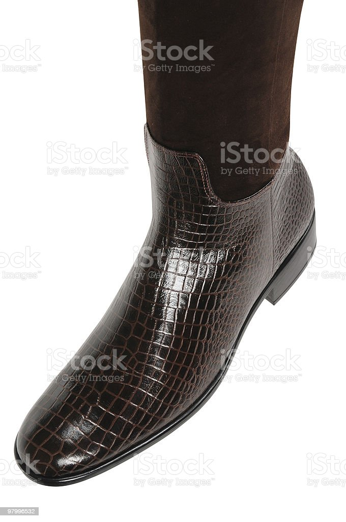 Leather boot. Isolated royalty-free stock photo
