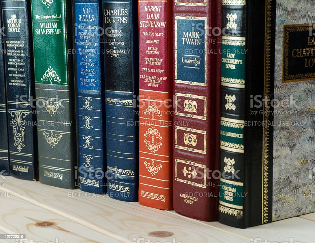 Leather Bound Books. stock photo