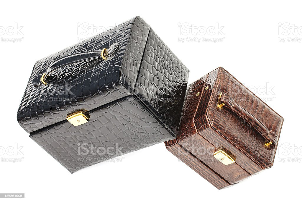 Leather box for cosmetic or jewelry royalty-free stock photo