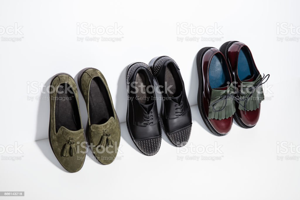 Leather brogues isolated on white background stock photo