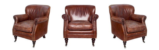 Leather brown chair Leather brown chair isolated on white background. View from different sides - front and two side views armchair stock pictures, royalty-free photos & images