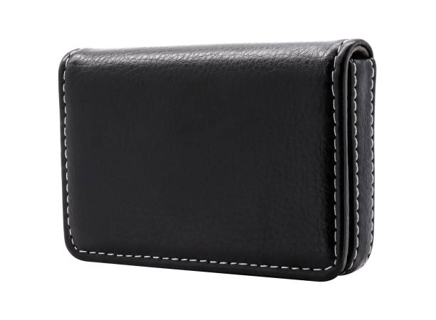 Leather card holder isolated on white background. Template of leather wallets for your design. ( Clipping path ) stock photo