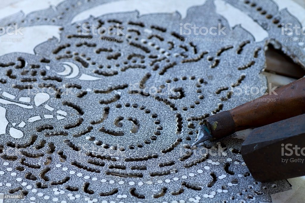 Leather carving stock photo