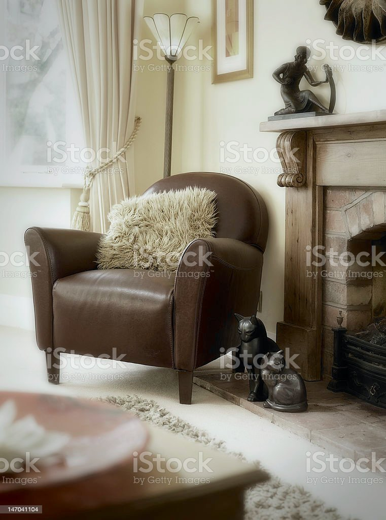 Leather chair in lounge setting royalty-free stock photo