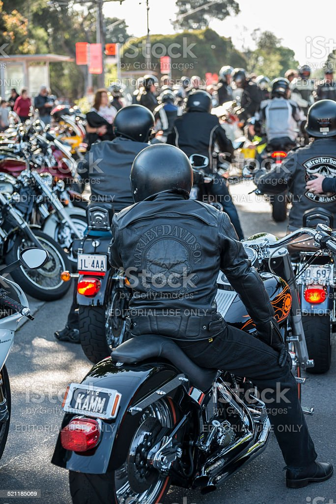 Leather Clad Motorcycle Riders stock photo