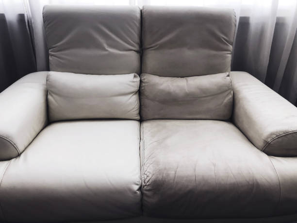 leather clean and dirty sofa before and after. stock photo