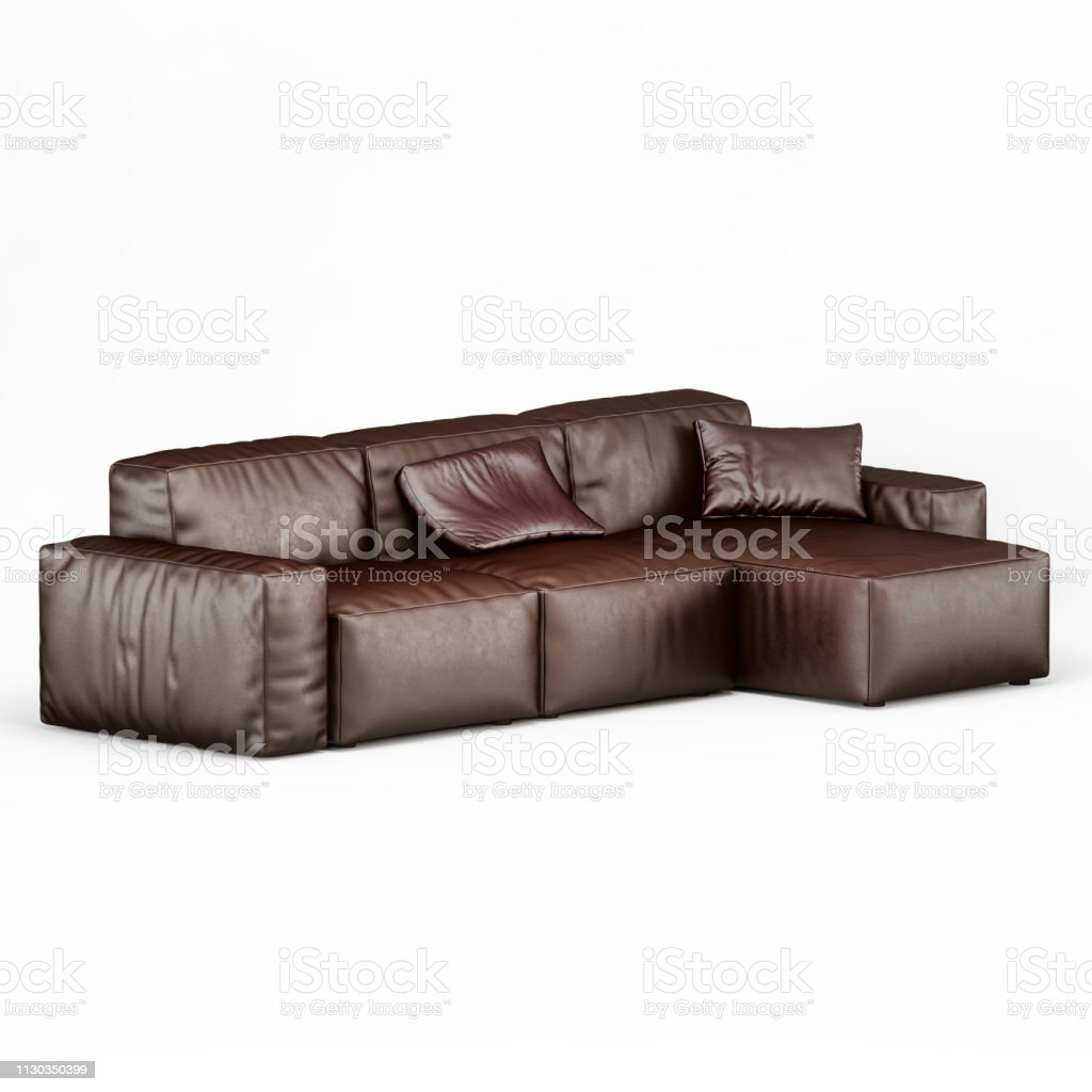 Leather Corner Sofa Brown Color On A White Background Stock ...