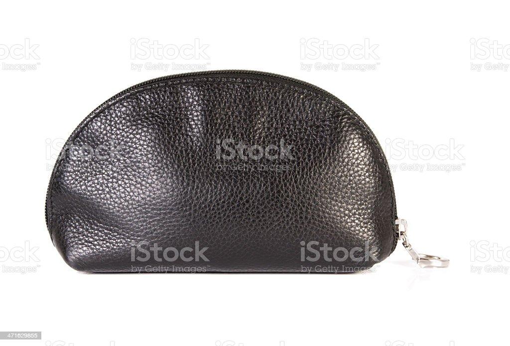 Leather cosmetics bag stock photo