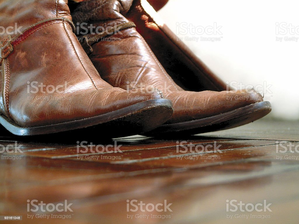 leather cowboy boots closeup royalty-free stock photo
