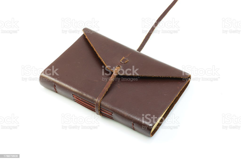 Leather diary book on white stock photo