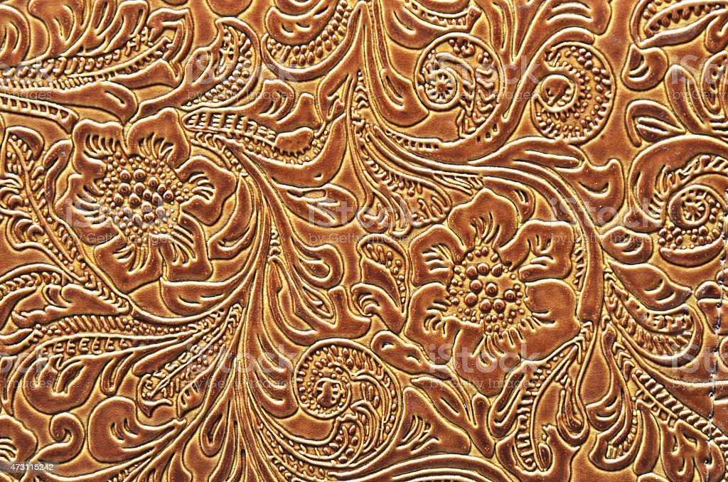 Leather Embossed with a Floral Pattern stock photo