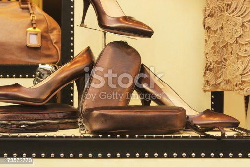 istock Leather Fashion Shoes Luggage Lace Retail Display 173572770